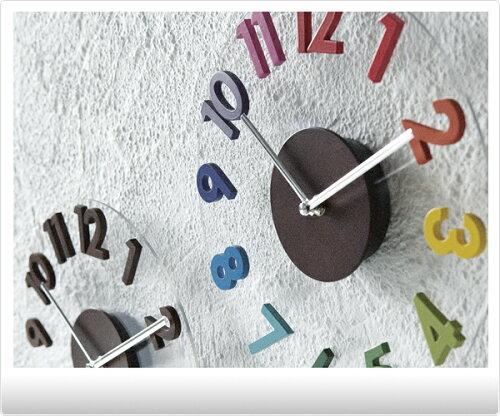 壁掛け時計 -RONDO- 【ウォールクロック/人気/カラフル/ブラウン/丸/ラウンド/クリア/...