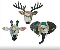 【送料無料】 壁掛け時計 -Deer/Giraffe/Elephant- 【壁掛時計|掛け時計|時計|おしゃれ|モダン|...