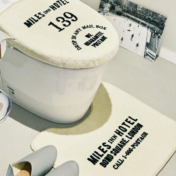 トイレマット -Hotel-[トイレマットセット トイレタリーセット おしゃれ お洒落 かっこいい 海外 外国 洗浄便座用 カジュアル トイレカバー フタカバー ホテル かわいい 英国風 オシャレ カフェインテリア 2点セット 北欧 モチーフ カッコイイ カッコいい 白色 ホワイト]