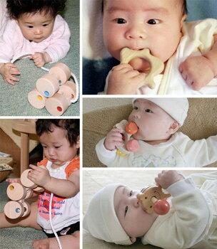 出産祝いプチセット(ユピ)送料無料木のおもちゃ知育玩具出産祝い歯がためおしゃぶりガラガラはがため赤ちゃんおもちゃラトル0才1才2才男の子&女の子日本製