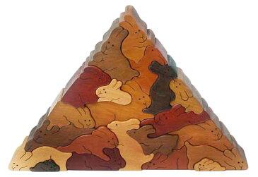 【名入れ可】ウサギのピラミッド 贅沢でアートな木のパズル 知育玩具 木のおもちゃ パズル 日本製 積み木 国産 1歳 2歳 3歳 4歳 5歳 6歳 7歳 8歳 9歳 誕生日ギフト 親子 木育 家族 ブロック 型はめ 手作り 雑貨 グッズ ハンドメイド 誕生日祝い 銀河工房■Wooden Toys Japan