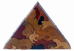 [動物のピラミッド(Aタイプ)]大人気 贅沢でアートな木のパズル 見て触って考えて五感に働き...