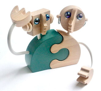 Robot Couple Wooden Toys (Ginga Kobo Toys) Japan