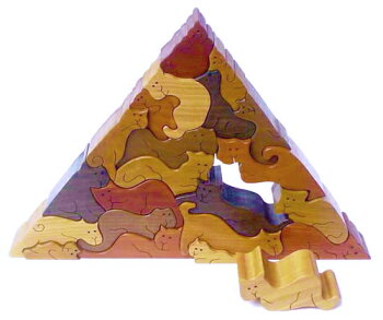 ネコのピラミッド木のおもちゃ知育玩具銀河工房おしゃぶりガラガラ赤ちゃんベビー積木ブロック子供遊具こどもつみき