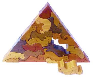 【名入れ可】●ネコのピラミッド 贅沢でアートな木のパズル 木のおもちゃ パズル 型はめ 知育玩具 日本製 積み木 国産 1歳 プレゼント ランキング 2歳 3歳 4歳 5歳 誕生日ギフト 送料無料 ブロック 手作り 雑貨 グッズ ハンドメイド 記念品 オブジェ 木育