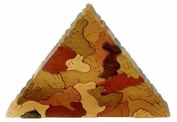 ウサギのピラミッド木のおもちゃ知育玩具銀河工房おしゃぶりガラガラ赤ちゃんベビー積木ブロック子供遊具こどもつみき木馬