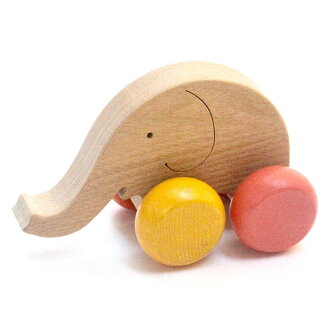 Dribbling Little Elephant Wooden Toys (Ginga Kobo Toys) Japan