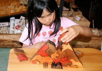 動物のピラミッド(Aタイプ)木のおもちゃ知育玩具銀河工房おしゃぶりガラガラ赤ちゃんベビー積木ブロック子供遊具こどもつみき