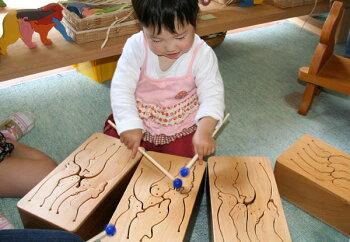 動物ドラム(6音階)木のおもちゃ知育玩具銀河工房WoodenToysJapan(GingaKoboToys)