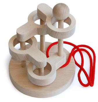立体知恵の輪(4段)木のおもちゃ知育玩具銀河工房おしゃぶりガラガラ赤ちゃんベビー積木ブロック子供遊具こどもつみきパズル