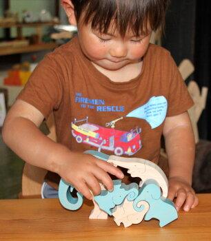 木のおもちゃ知育玩具銀河工房日本グッド・トイ委員会選定おもちゃ象のスタンディングパズル