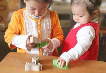 クマのスタンディングパズル木のおもちゃ出産祝い名入れギフト日本製おしゃぶり赤ちゃんおもちゃ銀河工房人形