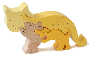 ネコのスタンディングパズル木のおもちゃ知育玩具積み木銀河工房日本製WoodenToys(GingaKoboToys)japan