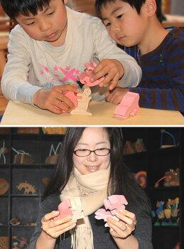 うさぎのスタンディングパズル木のおもちゃ知育玩具積み木銀河工房日本製WoodenToys(GingaKoboToys)japan