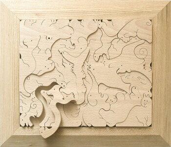 動物のジグソーパズル木のおもちゃ知育玩具銀河工房