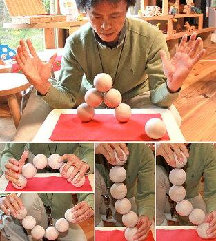 木のおもちゃ丸い積み木日本製銀河工房転がる積み木