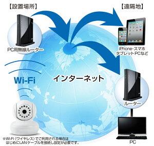 防犯カメラワイヤレス小型タイプ暗視タイプワイヤレスタイプiPhoneスマートフォンタブレット外出先から遠隔監視・操作無線2WAY双方向音声ベビーモニターペット出産祝いWiFi無線LAN対応IPカメラネットワークカメラ