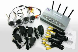 防犯カメラワイヤレス無線4台録画セット小型ワイヤレスタイプ防滴・防水タイプ小型タイプ暗視タイプ500GBハードディスク内蔵無線iPhoneスマホなど遠隔監視赤外線カラー録画装置