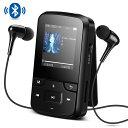 AGPTEK 音楽プレーヤー ミュージック プレーヤー Bluetooth搭載 クリップ ミニ MP3プレーヤー 8GB内蔵 bluetooth対応 高音質 FMラジオ/録音 スポーツ イヤホン&アームバンド&防汗ケース付属 最大128GBマイクロSDカードに対応 ブラック G6