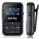 【送料無料】AGPTEK Bluetooth 4.0 MP3プレーヤー ミュージックプレイヤー MP3プレイヤーミニ クリップ 式 運動用 防汗カバー&アームバンド付属 Bluetooth対応 内蔵8GB マイクロSDカード最大128GBに対応 A12 ブラック 黒