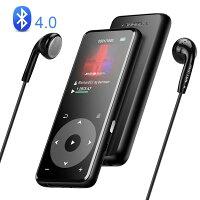 AGPTEK MP3プレーヤー bluetooth搭載 Hi-Fiロスレス音質 デジタルオーディオプレーヤー 光るタッチボタン 歩数計 合金製 内蔵8GB 最大128GBマイクロSDカード対応 A16TB ブラック