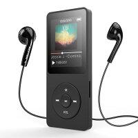 AGPTEK Bluetooth4.0 MP3プレーヤー HIFI高音質 超軽量 A-Bリピート語学機能/歩数計/FMラジオ 多機能 内蔵8GB マイクロSDカード128GBまで対応 A02TBluetooth進級版 ブラック