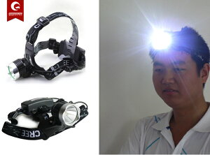 LEDヘッドランプ角度調節ストロボ機能付き登山の必需品