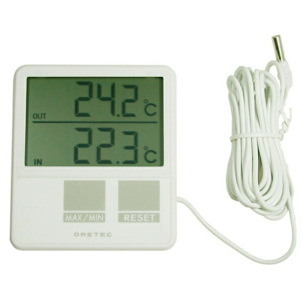 DRETEC ドリテック センサー付き室内室外温度計 大画面タイプ【RCP】【O-215】