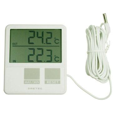 DRETEC ドリテック センサー付き室内室外温度計 大画面タイプ【RCP】【O-215】【キャッシュレス 還元 対象店】