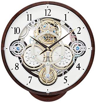 【中古】リズム時計 掛け時計 電波 アナログ からくり スモールワールドシーカー 《ギアからくり時計》 30曲 メロディ 茶 (木目調仕上げ) Small World 4M