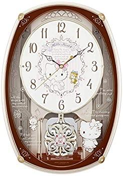 【中古】ハローキティ 掛け時計 電波時計 からくり時計 ピンクメタリック リズム時計 M540 4MN540MB13