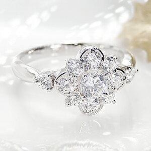 pt900【1.0ctUP】エレガンス フラワー ダイヤモンド リング【刻印無料】【品質保証書付】1ct  プラチナ 一粒ダイヤリング  ダイアモンド  指輪  エンゲージリング  レディース ギフト プレゼント:GOODLUCK jewelry