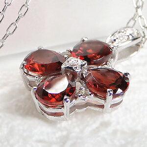 K10WGガーネットダイヤモンドネックレス