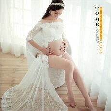 ワンピース マタニティ レース ロングトレーン 5分袖 7分袖 ロングドレス マタニティドレス マタニティフォト 記念写真 ホワイト レース 赤ちゃん 妊婦