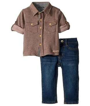 Hudson Kids ハドソン 男の子用 ファッション 子供服 セット Hudson Kids ハドソン Two-Piece Button Down Shirt w/ Knit Denim Pants Set (Infant) - Ink Wash