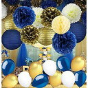 Ballloooon Navy Blue ウェディング 結婚 Decorations Tissue Paper Pom Poms Paper Lanterns with Balloons キット for Birthday Party ウェディングパーティー 結婚式 バルーン【送料無料】【代引不可】【あす楽不