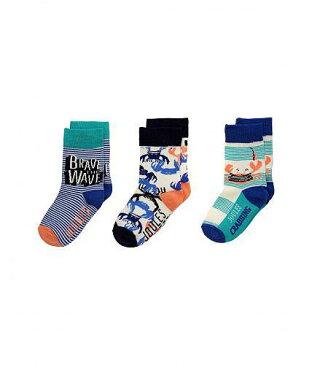 送料無料 Joules Kids 男の子用 ファッション 子供服 ソックス 靴下 Joules Kids Brilliant Socks 3-Pack (Toddler/Little Kid) - Crab