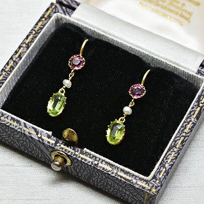 グッドウィル アンティーク ジュエリー ゴールド ペリドット ガーネット パール イヤリング Earrings レディース