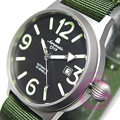 【正規品】 エアロマティック 1912 ドイツミリタリー メンズ 自動巻き ナイロンベルト グリーン 腕時計 A1337