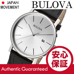 BULOVA(ブローバ)96B104ブラック×シルバーレザーベルトメンズウォッチ腕時計【_包装選択】