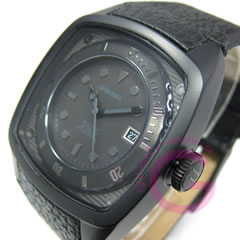 DIESEL (diesel) leather belt black casual watch DZ1492 アースデュ error