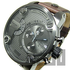 DIESEL (diesel) DZ7258 XXL case dual time frying leather belt gunmetal x dark brown men's watch