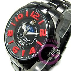 J.HARRISON(ジョンハリソン)JH-022BR自動巻き3Dインデックスサン&ムーン表示オールブラック×レッドメンズウォッチ腕時計