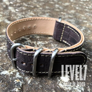 Made in Japan Handmade rug width 20MM/22MM/24MM/26MM compatible Panerai style crocodile pattern Crocodile embossing Dark brown oil leather Nume leather ZULU/NATO leather belt 4 ring watch spare belt SP-ZULUSS-VICROCO-BL LEVEL7