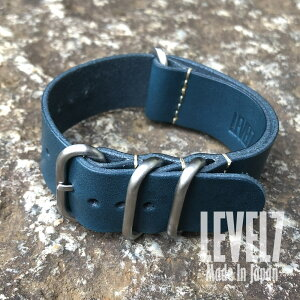 Made in Japan Handmade rug Width 22MM/24MM/26MM compatible Panerai style domestic Furutannin smooth blue Nume leather ZULU/NATO leather belt 4 ring watch spare belt SP-ZULUSS-BL LEVEL7