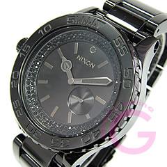 NIXON(尼克鬆)THE 42-20 Tide SS A035-1150/A0351150潮圖表全部黑色×黑色水晶女士Swatch表手錶