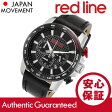 RED LINE(レッドライン) 300-01-BB Fastrack/ファストトラック クロノグラフ ラバーベルト ブラック×レッド メンズウォッチ 腕時計