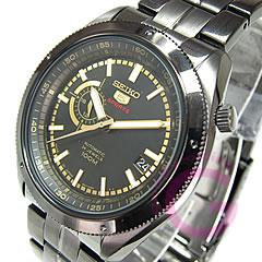 SEIKO(セイコー)SEIKO5/セイコー5スポーツSSA071J1自動巻き手巻き&ハック機能搭載メタルベルトブラックIP×ゴールド日本製逆輸入メンズウォッチ腕時計