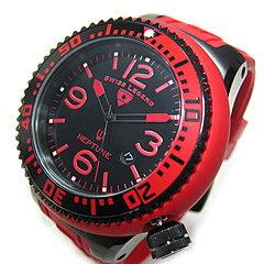 SWISSLEGEND(スイスレジェンド)21818P-BB-01-RBSNeptune/ネプチューンブラック×レッドラバーベルトダイバーズスタイルメンズウォッチ腕時計