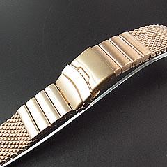 【Omega(オメガ)スタイルステンレスメッシュベルト20MM/22MM/24MM】T2NStrap/T2NストラップSHARKMESHT2N-MB1010-12WSLRGローズゴールド1.2mmワイヤー使用セーフティ付きDバックルステンレスメッシュブレスレット/バンド替えベルト腕時計用